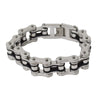 VJ1124 Men's 3/4 inch Wide Two Tone Silver and Black Bracelet
