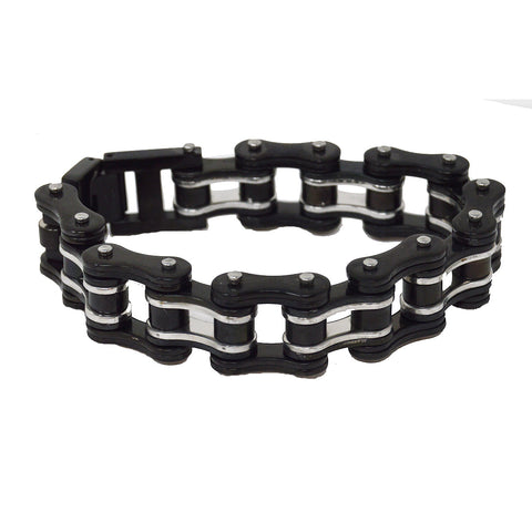 VJ1125 Men's 3/4 inch Wide Two Tone Black and Silver Bracelet