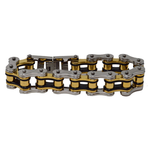 VJ1126 Men's 3/4 inch Wide Tricolor Black, Silver, and Gold Bike Chain Bracelet