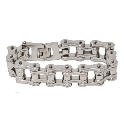 VJ1128 Men's 3/4 inch Wide All Silver Bike Chain Bracelet