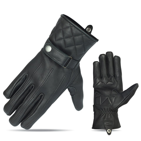VL467 Premium Leather Driving Glove with Snap Cuff