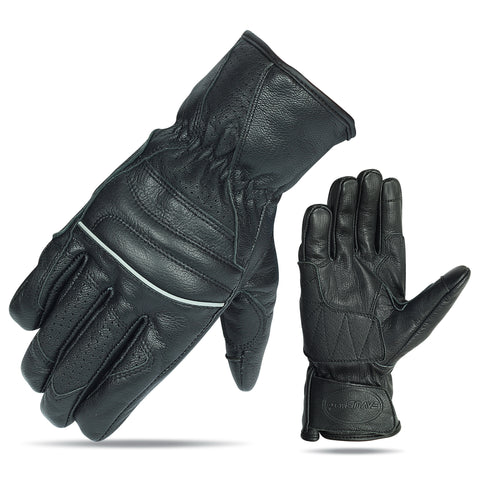 VL476 Premium Leather Driving Glove with Reflective Piping