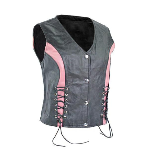 Ladies Premium Leather Crystal Vest in Pink Color