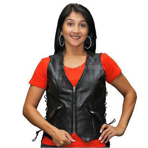 VL1019 Ladies Leather Zipper Vest with Lace Sides
