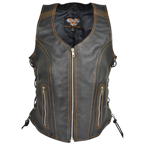 VL1029 Ladies Lace Side Zipper Vest with Zippered Pockets
