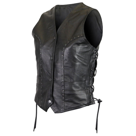 VL1049 Premium Cowhide Studded Leather Vest
