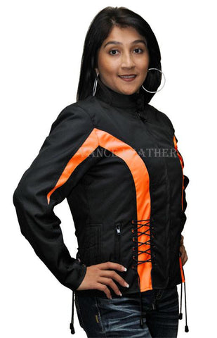 VL1566 Vance Leather Ladies Textile Crystal Jacket with Color Accents and Hoodie