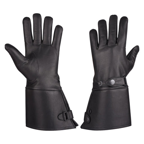 VL432 Men's Thermal Lined Leather Gauntlet Gloves w Snap Wrist & Cuff
