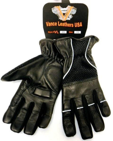 VL452 Mesh & Leather Gloves with Padded Leather Palms, Reflective Piping and Elastic Cuff