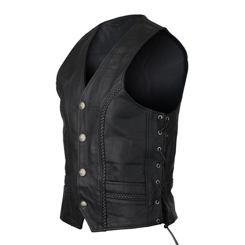 Vance Leather Buffalo Nickel Leather Motorcycle Vest with Braids and Side Laces