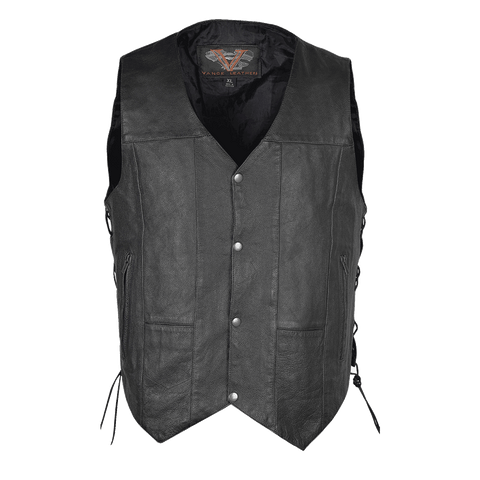 Men's Premium Ten Pocket Leather Vest
