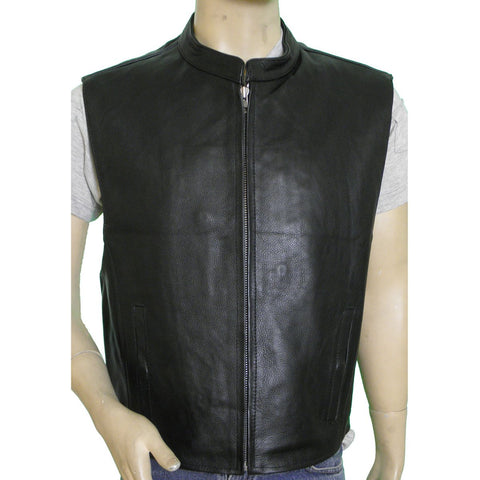 VL930 Vance Leather Men's Premium Cowhide Leather Zip Front Vest