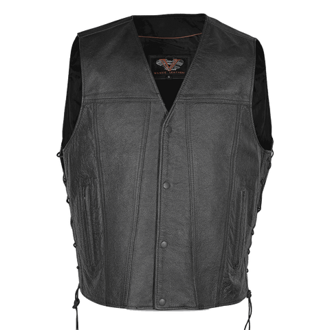 Vance Leather Gambler Style Premium Cowhide Leather Vest with 2 Gun Pockets