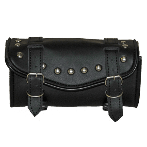 VS103 Vance Leather 2 Strap Studded Tool Bag with V-Shaped Flap