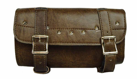 VS112DB Vance Leather Distressed Brown 2 Strap Studded Tool Bag with Quick Releases