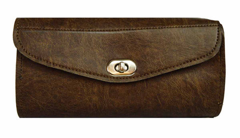 VS120DB Vance Leather Distressed Brown Plain 2 Strap Tool Bag with Twist Latch