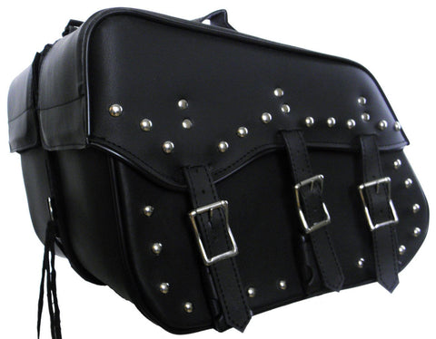 VS213 Vance Leather Medium 3 Strap Studded Saddle Bag