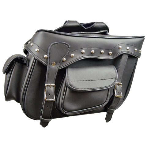 Black Studded Saddle Bag with 2 Outside Pockets 16X11X6