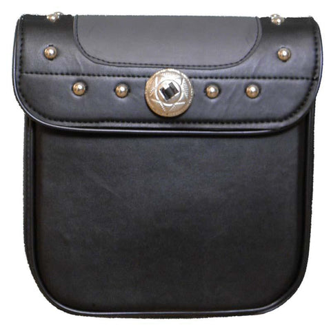 VS307 Vance Leather Black and Grey Studded Sissy Bar Bag