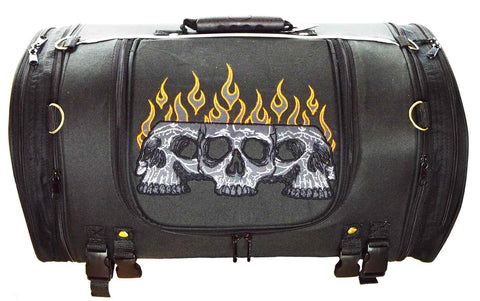VS364 Vance Leather Textile Trunk Bag with Expandable Sides and Reflective Skull with Colored Flame Embroidery