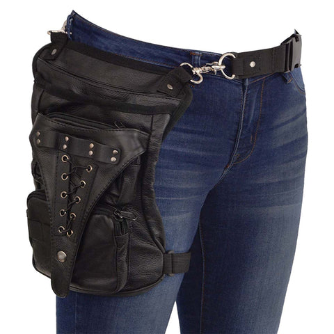 VA560 Black Carry Leather Thigh Bag with Waist Belt