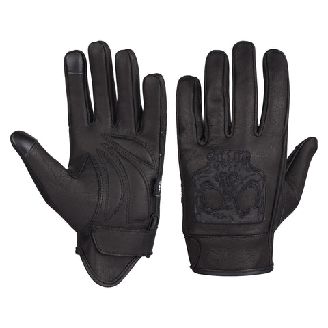 VL475SK Gel Palm Riding Gloves with Skull