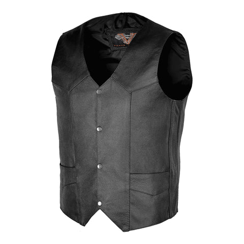 VL901S Vance Leather Men's Basic Leather Plain-Side Vest
