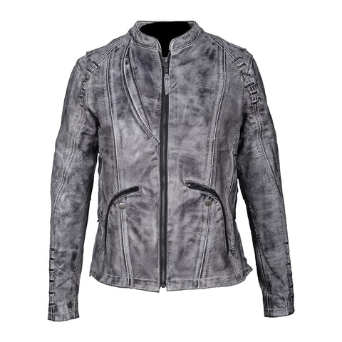 HML638WB High Mileage Ladies Lightweight Acid Wash Goatskin Leather Jacket