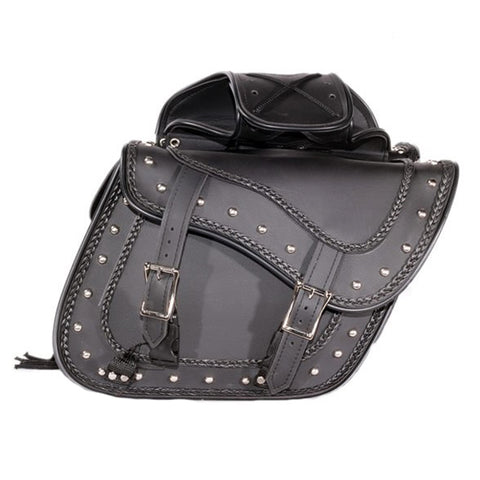 VS205BS Slanted Black Concealed Carry Braided Plain Saddlebags with Studs
