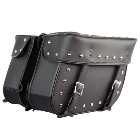 VS201 Leather Like Biker Studded Saddlebags
