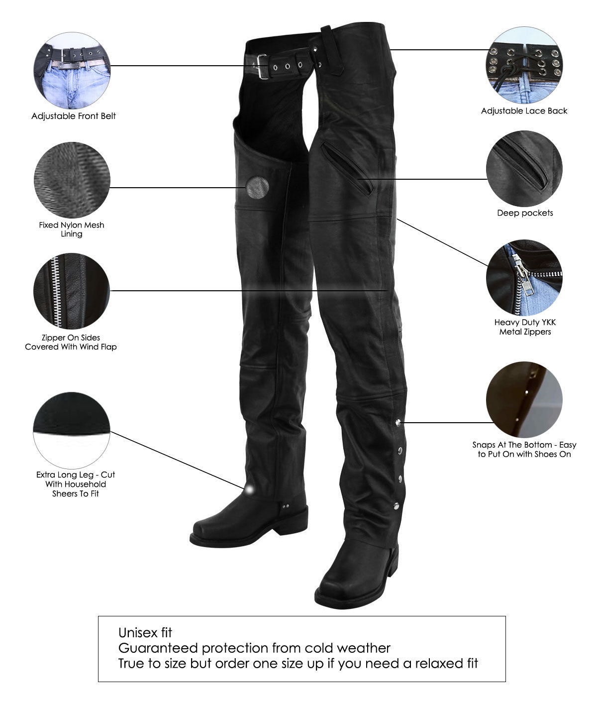 Premium Leather Deep Pocket Leather Chaps with YKK Zippers
