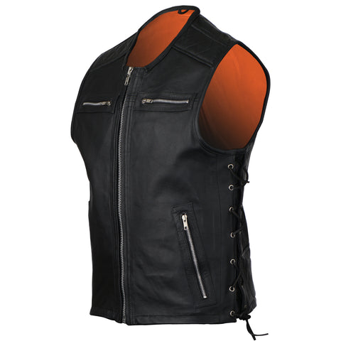 VL941 Vance Leather Men's Premium Padded Leather Vest