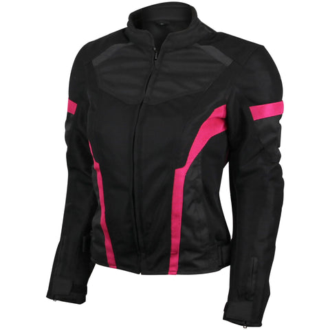 VL1674P Womens Advanced 3-Season CE Armor Pink Mesh Motorcycle Jacket
