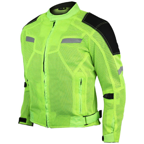 VL1622HG High Visibility Mesh Motorcycle Jacket with Insulated Liner and CE Armor