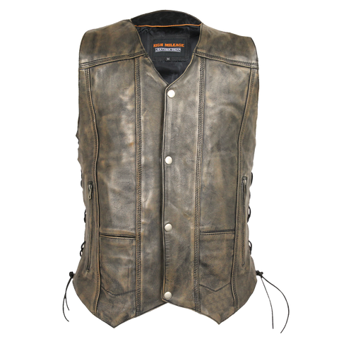 HMM915DB Vance Leather High Mileage Men's Distressed Brown 10 Pocket Vest
