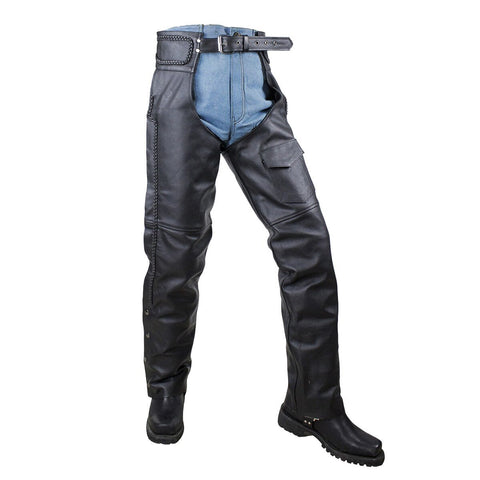 VL802S Vance Leather Basic economy Leather Chaps with Braid Trim