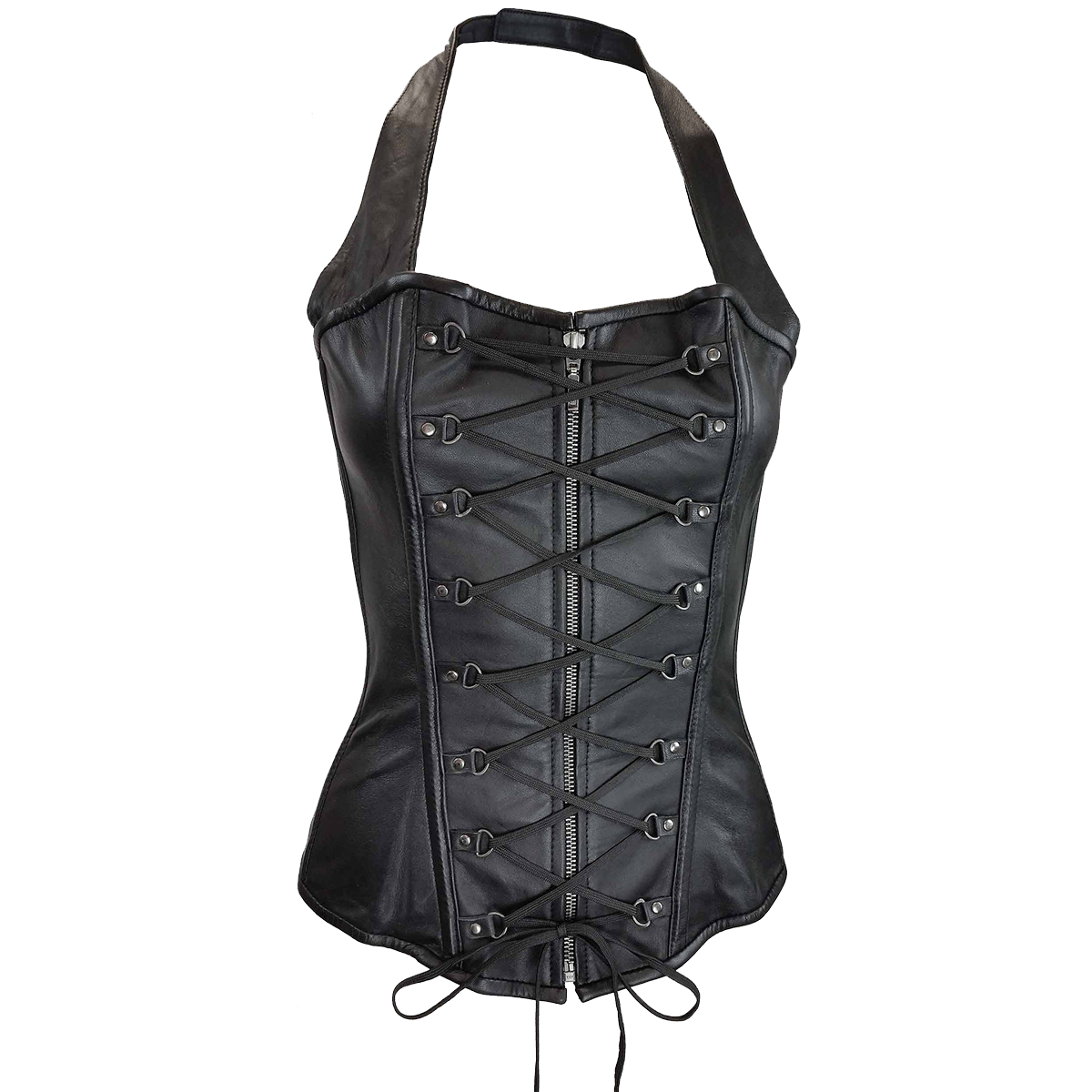 663467c0bd VC1323 Vance Leather Ladies Halter Top Corset with Zipper and Laces