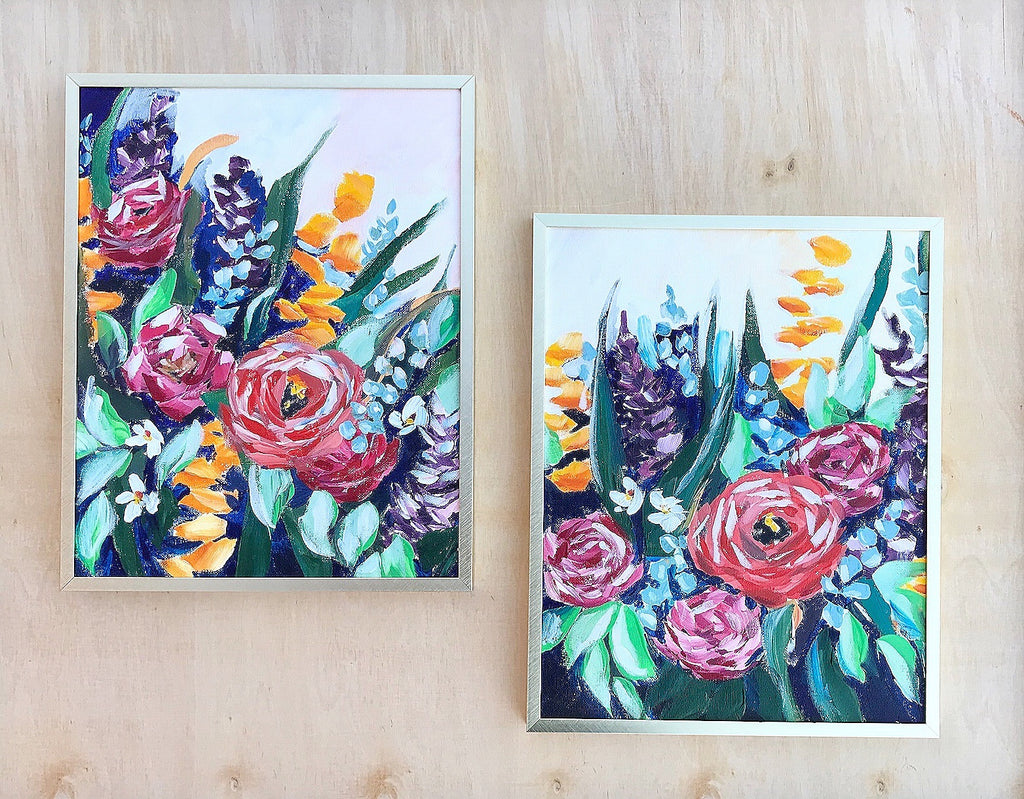 Two 11x14 framed florals
