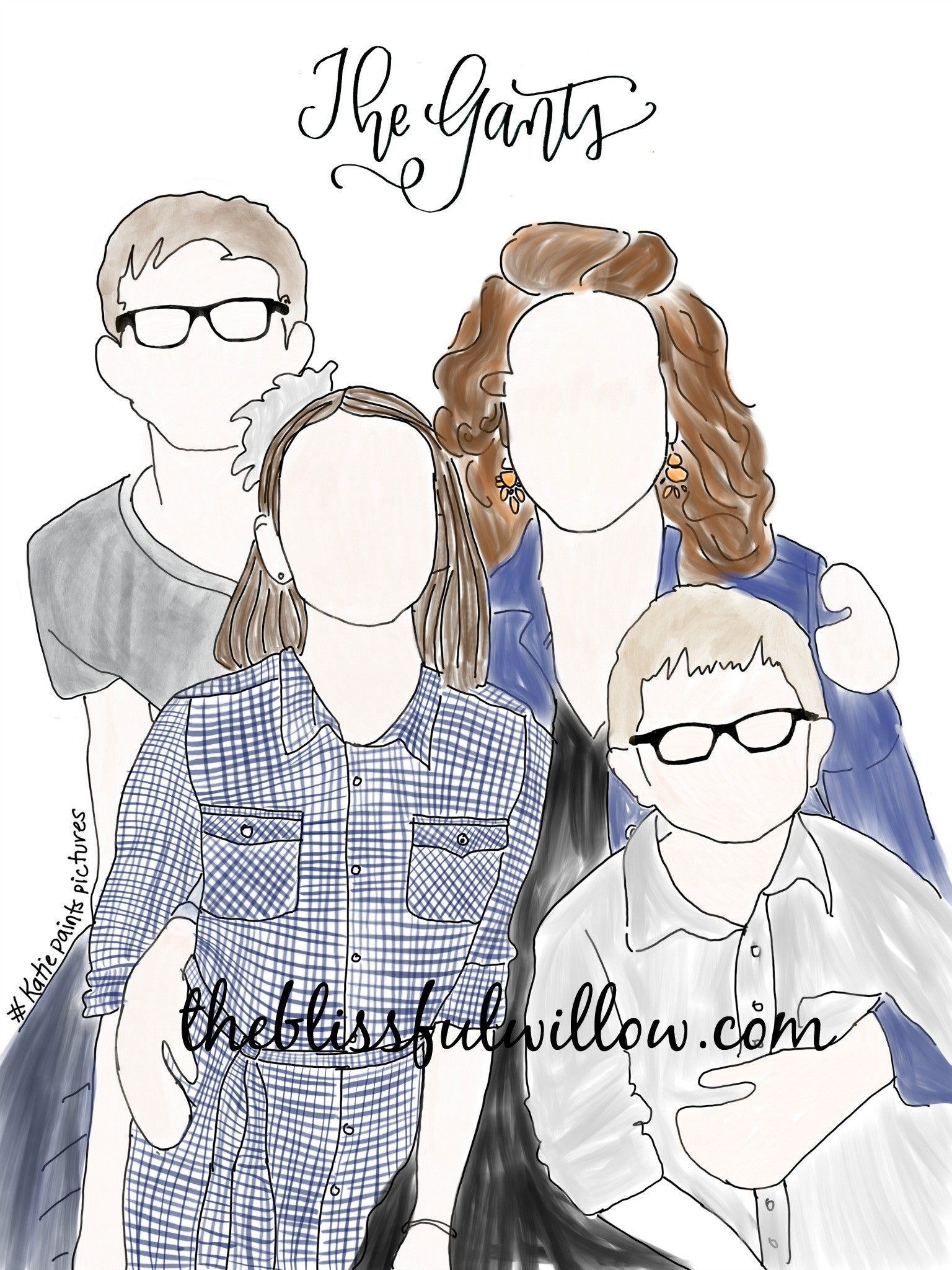 Custom family illustration 2-3 People or Pets