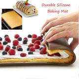 Non-stick Silicone Oven Mat Cake Roll Mat Rectangle Baking Cake Roll Pad Multi-purpose Bakeware Baking& Pastry Tools Durable