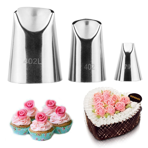 3pcs Stainless Steel Cream Piping Nozzles Fondant Tool for Pastry Cake Decorating