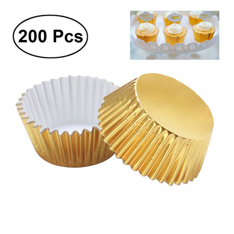 200pcs Thickened Aluminum Foil Cups Cupcake Liners Cake Muffin Molds for Baking