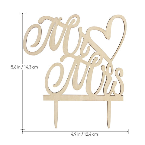 "BESTOMZ Cake Topper ""Mr & Mrs"" Wood Wedding Cake Decorations"