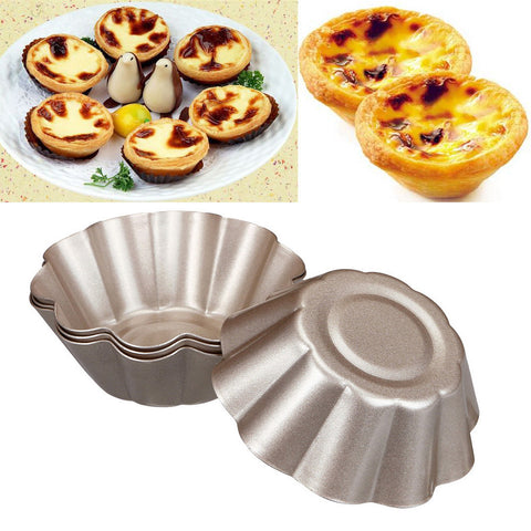 4PCS Egg Tart Aluminum Cupcake Cake Cookie Lined Mold Mould Tin Baking Tool Hot