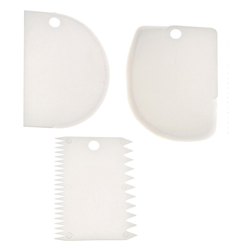 Plastic Dough Fondant Scraper Cake Decorating Plain Smooth Jagged Edge , 1 Set