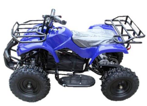 an image of a blue trek electric quad bike