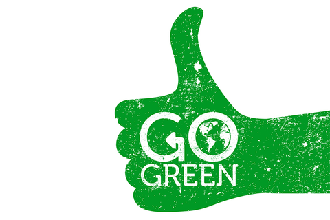 a large go green thumbs up