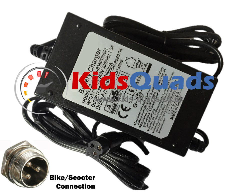 551f00ee Battery Charger 36v 1.5A for Kids Quad Bikes & E-Scooters