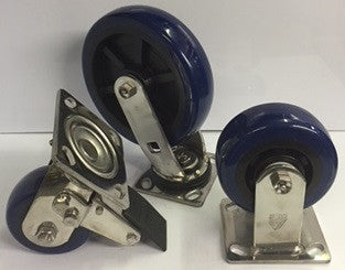 Stainless Steel Frame w/ Blue Polyurethane Wheel