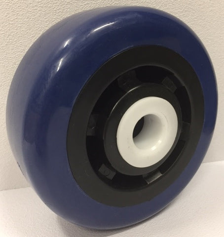 Polyurethane Blue Tread on Black Polyolefin Wheel